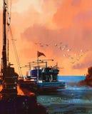 Fiskebåt i port på solnedgången stock illustrationer
