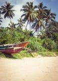 Fiskebåt på en tropisk strand med palmträd i backgrouen Arkivfoto