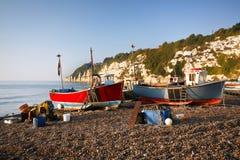 Fiskebåtar Dorset, UK royaltyfria bilder