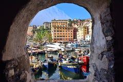 Fiskebåtar i Camogli Italien Royaltyfri Fotografi