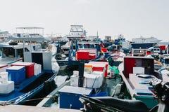 Fiskebåtar i hamnen i stadsmannen, huvudstad av Maldiverna Royaltyfri Foto