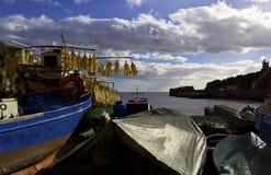 Fiskebåtar i land Fotografering för Bildbyråer