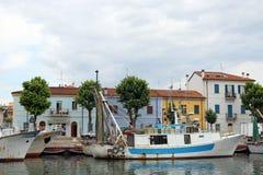 Fiskebåtar i port Rimini Royaltyfria Bilder