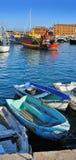 Fiskebåtar i Santa Margherita port, Liguria, Italien Royaltyfria Bilder