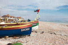 Fiskebåtar i Sompting, västra Sussex, 18.03.2014 Royaltyfri Bild