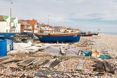 Fiskebåtar i Sompting, västra Sussex, 18.03.2014 Arkivfoton