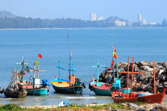 Fiskebåtar i Thailand Arkivbild