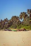 Fiskebåtar på en tropisk strand Royaltyfri Foto