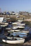 Fiskebåtar på gamla Leigh, Essex, England Arkivbild