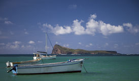 Fiskebåtar på havet med en sikt av myntet de Myr i bakgrunden i Mauritius Arkivbild
