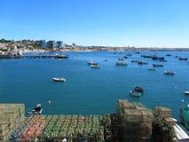 Fiskebåtar på kusten Arkivfoto