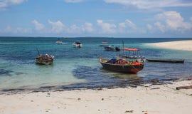 Fiskebåtar på lågvatten fotografering för bildbyråer