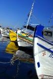 Fiskebåtar på Pothia Royaltyfri Fotografi