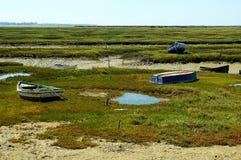 Fiskebåtar på stranden av Puerto som är verklig i Cadiz, Andalusia spain Royaltyfria Foton