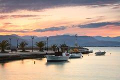 Fiskebåtar Peloponnese, Grekland Royaltyfria Bilder