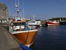 fiskebåtar som anslutas i hamnen Royaltyfri Fotografi