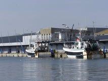 Fiskebåtar som förtöjas på en hamnplats Royaltyfri Bild