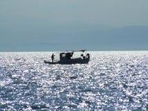 Fiskebåtkontur Fotografering för Bildbyråer