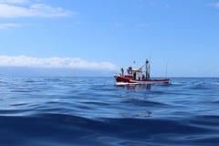 Fiskebåtsegling i havet royaltyfria bilder