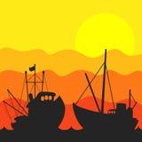 Fiskebåtsolnedgångvektor vektor illustrationer
