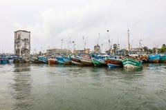 Fiskebåtställning i den Galle hamnen, Sri Lanka Royaltyfria Bilder