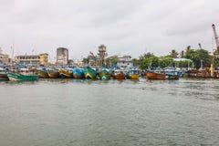 Fiskebåtställning i den Galle hamnen, Sri Lanka Arkivfoton