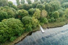 Fiskebrygga på ett damm med molnreflexioner och en skog med royaltyfria foton