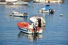 Fiskebåtar på porten, Bordeira, Algarve, Portugal Arkivfoto
