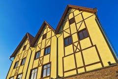 Fiskeläge - århundrade för tysk arkitektur för stylization 19th. Kaliningrad Ryssland arkivbild