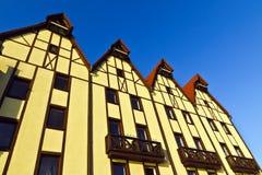 Fiskeläge - århundrade för tysk arkitektur för stylization 19th. Kaliningrad Ryssland royaltyfri foto