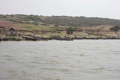 Fiskeläge drottning Elizabeth National Park, Uganda arkivbilder