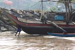 Fiskeläge nära Galle, Sri Lanka Fotografering för Bildbyråer