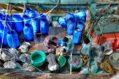 Fiskeläge på Sekinchan arkivbild