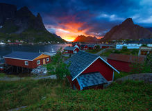 Fiskeläget av Reine i Lofoten, Norge Arkivfoton