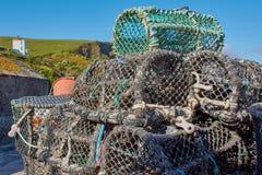 Fisken fångar att ligga i hamnen av port Isaac royaltyfri bild