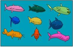 Fisken fryste i blåtten av havet Alla tecken är olika i form arkivfoto