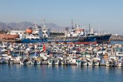Fiskeport av Kalba, Fujairah, UAE Arkivbilder