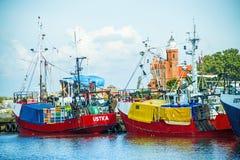 Fiskeport av Ustka, Polen Arkivbilder