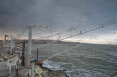 Fiskepunkt på det Adriatic havet Royaltyfria Bilder