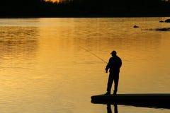 fiskesolnedgång Royaltyfri Foto