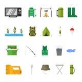Fiskesymboler i plan design också vektor för coreldrawillustration Arkivfoto