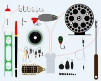 Fisketillbehöruppsättning royaltyfri illustrationer