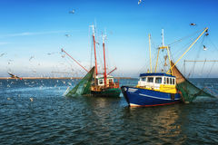 Fisketrålare på arbete Royaltyfria Bilder