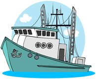 fisketrawler royaltyfri illustrationer
