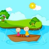 fiskeungar stock illustrationer