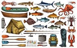 Fiskeutrustning och fiskaretroféfisken skissar stock illustrationer