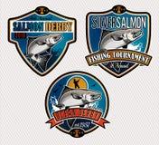 Fiskevektorlogo Salmon Fish symbol Arkivbilder