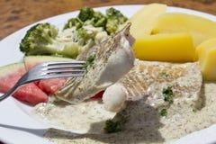 Fiskfilé med dillsås, brokkoli och kokta potatisar Arkivbild
