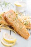 Fiskfilé med pommes frites Fotografering för Bildbyråer