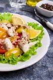 Fiskfilé med rå grönsaker Arkivfoto
